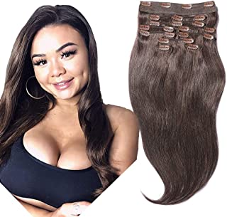 YONNA Remy Human Hair Clip in Extensions Double Weft Long Soft Straight 10 Pieces Thick to Ends Full Head Dark Brown #2 18inch 200g