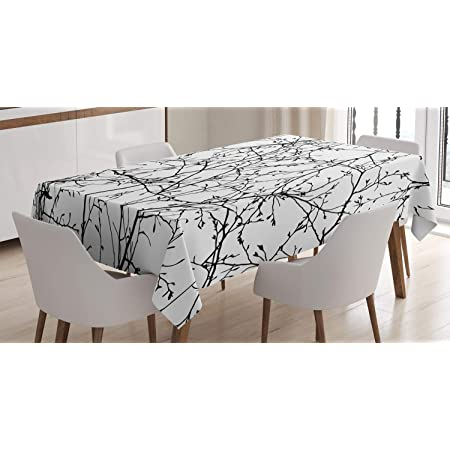 ABAKUHAUS La Nature Nappe, Branches avec des Feuilles Buds, Linge de Table Rectangulaire pour Salle à Manger Décor de Cuisine, 140 cm x 200 cm, Noir Blanc