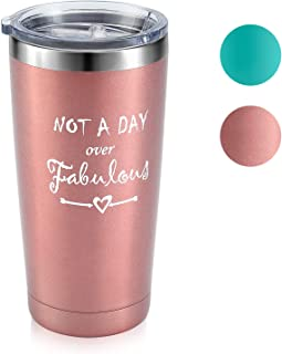 Not A Day Over Fabulous- Best Birthday Gifts Wine Tumbler for Women, Wine Glass with Lid for Her, Friends, Mom, Daughter, Aunt, Coworkers, 20oz Stemless Insulated Cup (Rose Gold)