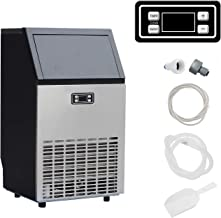 SMETA Commercial Ice Maker, Freestanding 100 LBS/24H, 33LBS Storage Capacity, Automatic Ice Cube Maker Machine