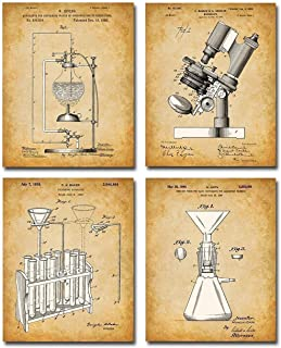 Original Science Lab Equipment Patent Prints - Set of Four Photos (8x10) Unframed - Makes a Great Gift Under $20 for Scien...