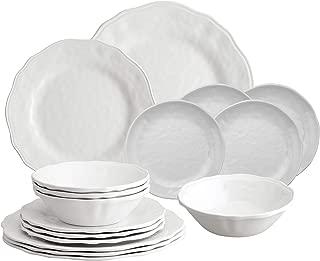 Gourmet Art 16-Piece Dimple Melamine Dinnerware Set, Service for 4. Includes Dinner Plates, Salad Plates, Dessert Plates and Bowls.