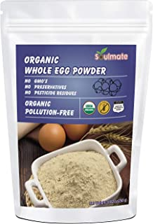 Soulmate Organic Dried Whole Egg Powder, Produced from the Freshest of Eggs, Non-GMO No Additives, 8.82oz(1...