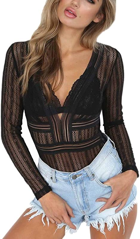 LiLiMeng 2019 New Sexy Pajamas Fashion Women Long Sleeve Sexy Lace Backless V Neck Jumpsuit Bodysuit