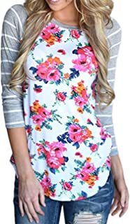 gllive Women's Crew Neck 3/4 Sleeve Striped Floral Print T-Shirts Casual Blouse Tops