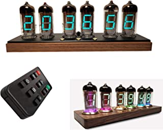 IV11赤外線リモコン付き蛍光管時計、16色モードと255色のデジタルグロー管時計、音声Bluetoothスマート電子時計学生目覚まし時計,黒