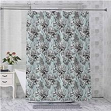 Juego de cortinas de ducha, estilo vintage monocromático, diseño de flores de agua, lirio, caracol ramitas de caracol, 182...