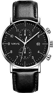VAVC Men's Fashion Minimalist Casual Dress Black Milanese Mesh Band Waterproof Quartz Analog Wrist Watch with Black Dial