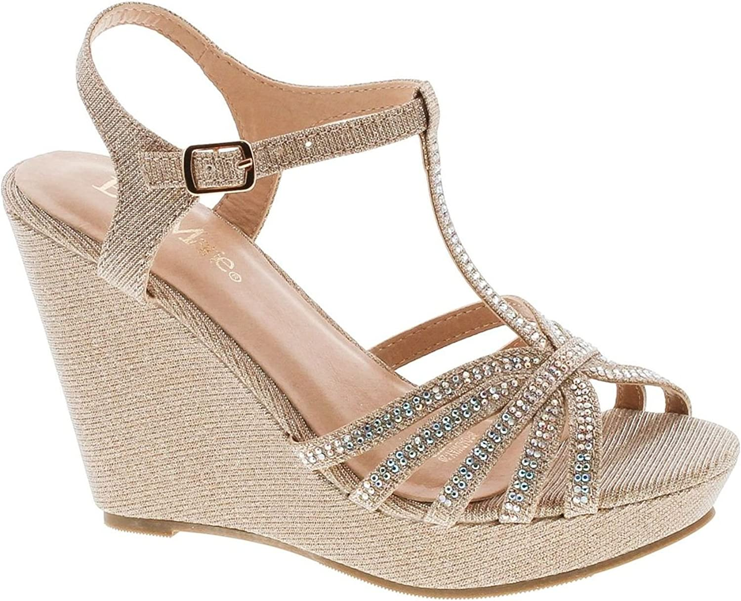 Bella Marie Womens Broadway-20 Metallic Glitter Dress Wedge Sandals