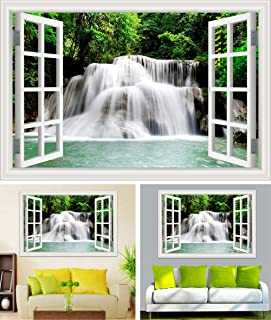 Wuyiduo 3D Fake Window,Wall Sticker Murals,Large Removable 3D Window Decal,Vinyl Self-Adhesive,Home Decor Living Room Natu...
