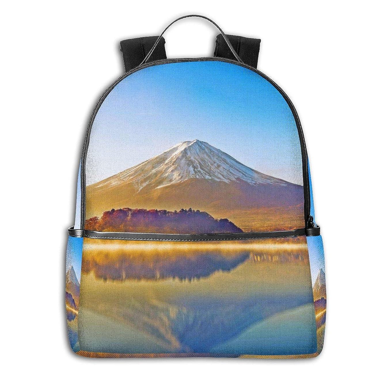 祝福するバッジ番目Zetena リ ュックリュックサック 山 富士山 湖 太陽光 バックパック デイパック おしゃれ 旅行 通学 通勤 15.6インチラップトップ収納可能 アウトドア 遠足 出張 男女兼用