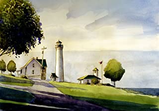 Tibbett's Point Lighthouse Hostel, Lake Ontario, St. Lawrence, New York. Matted Watercolor Art Prints (7x10)