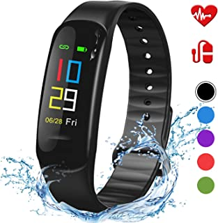Lintelek Fitness Tracker - Sport Pedometer Odometers Color Screen Watch with Heart Rate Blood Pressure Oxygen Monitor, Step and Calorie Counter IP67 Smart Bracelet Gift for Kids Women and Men