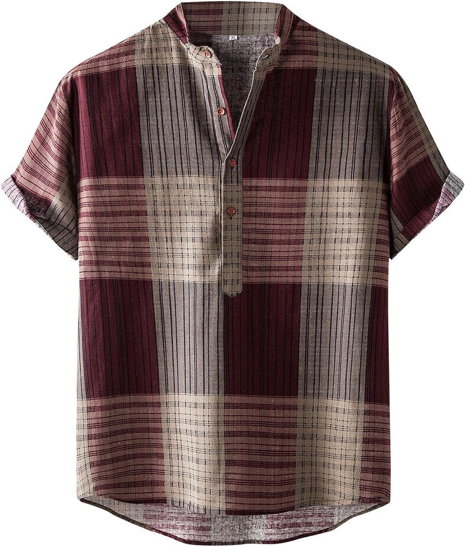 Burband Mens Casual Button Down Short Sleeve Poplin Shirts Cotton Linen Loose Fit Hawaiian Beach Floral Graphic Tees