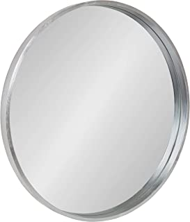 Kate and Laurel Travis Round Wall Mirror with Wood Frame, 25.6-inch Diameter, Silver