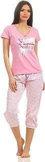 Pijama de verano para mujer en diferentes modelos. Algodón ligero. Tallas desde 36/38 hasta 48/50 Rosa con pantalón pirata Large
