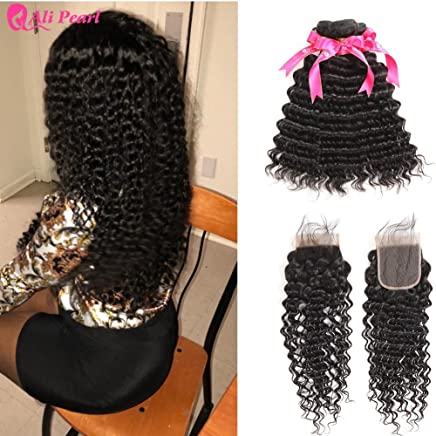 Human Hair Weaves Deep Wave Human Hair Bundles With Closure 6x6 Free Part Pre Plucked Brazilian Bundles With Closure Remy Hair Extension Alipearl