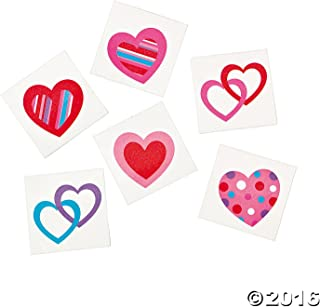 72 Colorful FUN HEART Temporary TATTOOS/VALENTINE'S DAY PARTY FAVORS/6 DOZEN/TEACHER'S Prizes (Original Version)