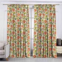 Dutch Blackout Curtain Colorful Spring Tulips Abstract Blooming Meadow Floral Arrangement in Cartoon Style 2 Panel Sets W52 x L72 Inch Multicolor