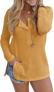 Womens Waffle Knit Tunic Blouse Henley Tops Loose Fitting Plain Shirts
