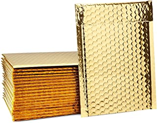 Fu Global #0 Gold Metallic Bubble Mailers 6x10 Inches Self Seal CD Padded Envelopes Pack of 50