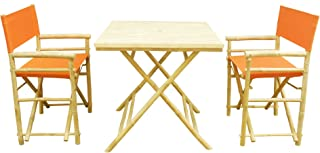 Zero Emission World Set-012-01 Set Of 1 Square Table,+ 2 Director Chairs -Pottery, Natural, 31.5X31.5X29.5 22.83X18.11X35.43