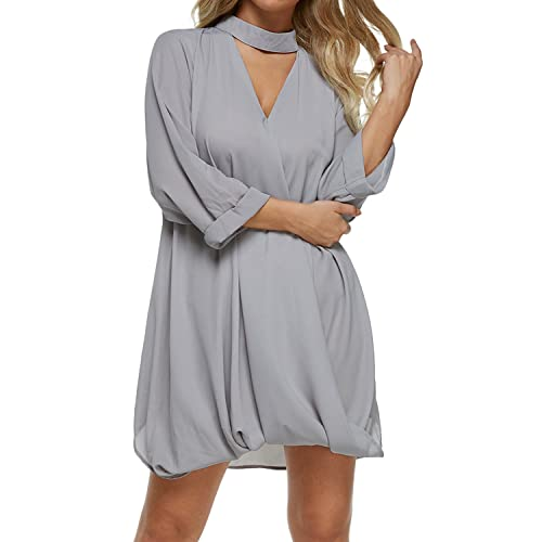 8c1dd645fccc9 Auxo Women Long Shirt Choker V Neck Tunic Top Wrap 3 4 Sleeve Blouse  Oversized