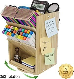 $29 » Bamboo Desk Organizer Storage Accessories - Ultra-large 13 compartments, 1000+ Pencil Holder Capacity, Easy DIY Assembly, DF Darfoo Rotating Desktop Organizer for women, Cosmetics, and Office Supplies