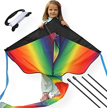 AGREATLIFE Extra Large Rainbow Kite for Kids and Adults with Safety Certificate - 51-inch Wingspan Extra Huge Rainbow Kite -