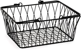 Spectrum Diversified Twist Storage Handles, Modern Farmhouse D�cor Farmer�s Market-Style Wire Basket for Organizing Bathroom, Pantry & Craft Room, Medium, Black