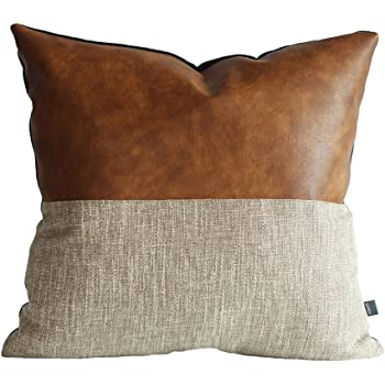 Kdays Halftan Pillow Cover Cognac Leather Decorative Throw Pillow Case Farmhouse Trendy Sofa Couch Cushion Covers Modern Minimalist Color Block Pillow Cover 18x18 Inches