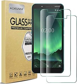 AOKUMA Nokia C2 skärmskydd i härdat glas, högkvalitativ skyddsfilm, fodral vänlig, bekväm rund kant, okrossbart, stötsäker...
