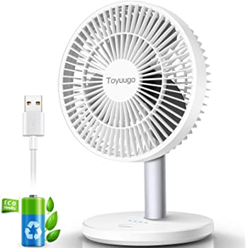 """Toyuugo USB Desk Fan, 5.5"""" Ultra Quiet 3 Speed Portable Personal Table Cooling Fan with 90° Adjustment, Easy to Clean, Strong Airflow Table Fan for Office Travel Outdoor Camping Beach(2200mAh-White)"""