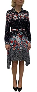 Women's Floral Printed Long Sleeve Button Up A-Line Shirt Dress