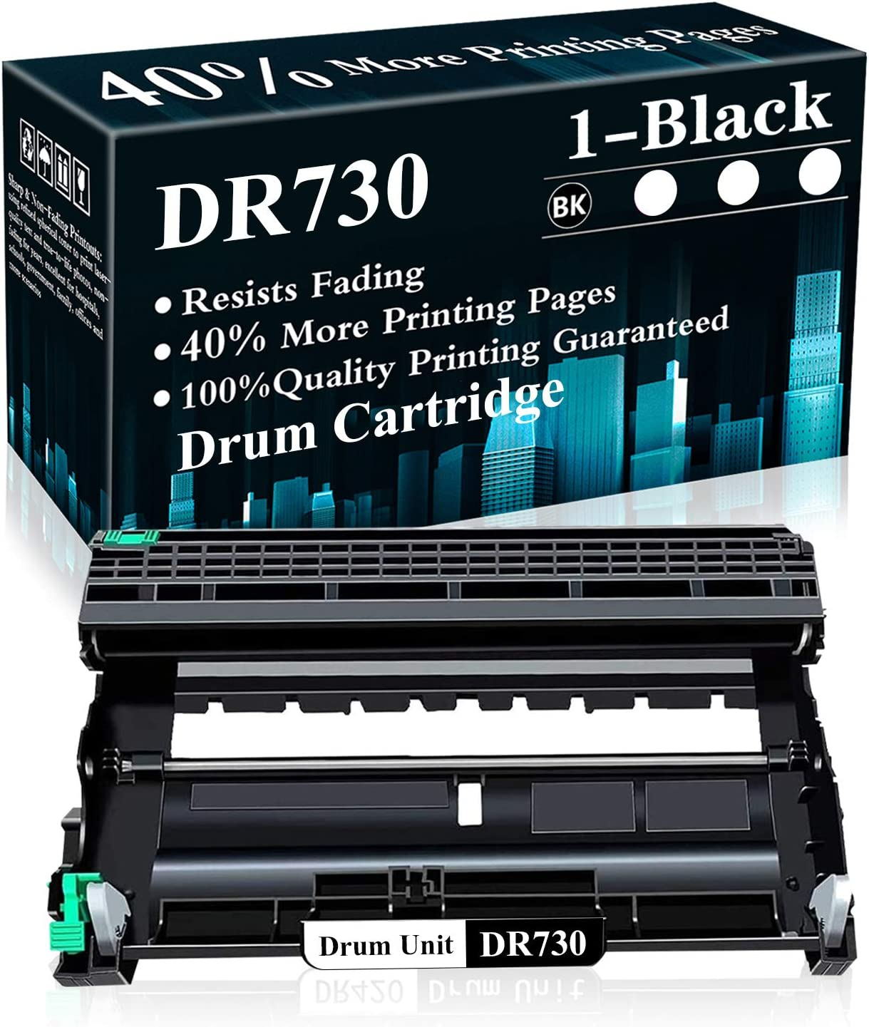 1 Pack DR730 Black Drum Unit Replacement for Brother DCP-L2550DW MFC-L2710DW L2750DW L2750DWXL HL-L2350DW HL-L2370DW L2390DW L2395DW Printer,Sold by TopInk