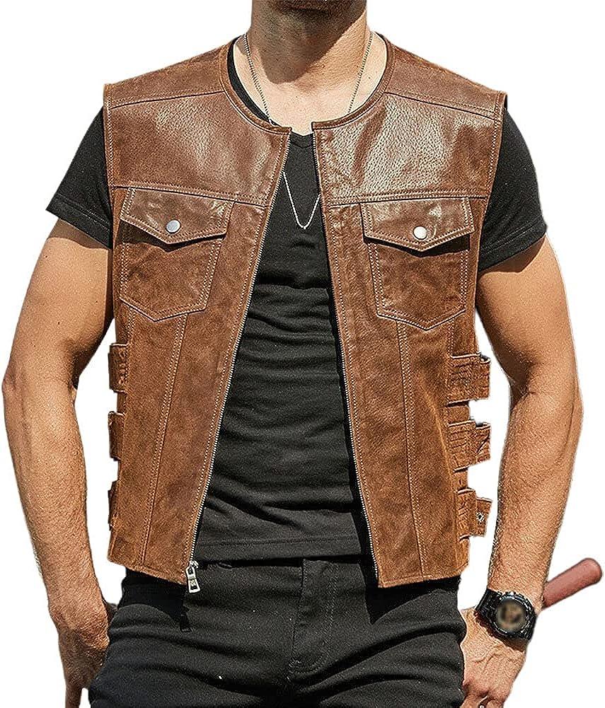 Chartou Men's Round Neck Zip-Up PU Leather Sleeveless Buckle Biker Vest Jacket