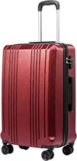 Luggage Suitcase PC+ABS with TSA Lock Spinner Carry on Hardshell Lightweight 20in 24in 28in (wine red, S(20in_carry on))