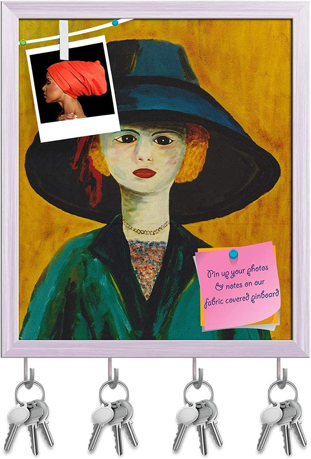 Artzfolio Figurative Artwork of A Young Woman Key Holder Hooks   Notice Pin Board   White Frame 16 X 18.6Inch