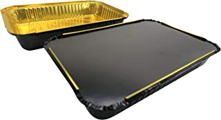 KitchenDance Disposable Colored Aluminum 4 Pound Oblong Pans with Board Lids #52180L (Black w/Gold Interior, 50)