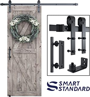 6 FT Heavy Duty Sturdy Sliding Barn Door Hardware Kit, 6ft Single Rail, Black, (Whole Set Includes 1x Pull Handle Set & 1x Floor Guide) Fit 36