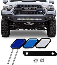 JINGSEN Tri-color grille badge logo decoration accessories car truck label Tacoma 4Runner Tundra Rav4 Highlander's T-G3Y three-color badge logo barbecue grill (White-blue-dark blue)