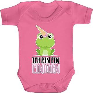 ShirtStreet süße Geschenkidee Unicorn Eis Ice Cream Strampler Bio Baumwoll Baby Body kurzarm Jungen Mädchen Frosch - Ich bin ein Einhorn