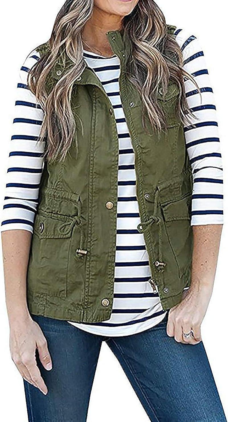 Cicilin Women Sleeveless Military Jacket Vest Pockets Cargo Utility Safari Vest