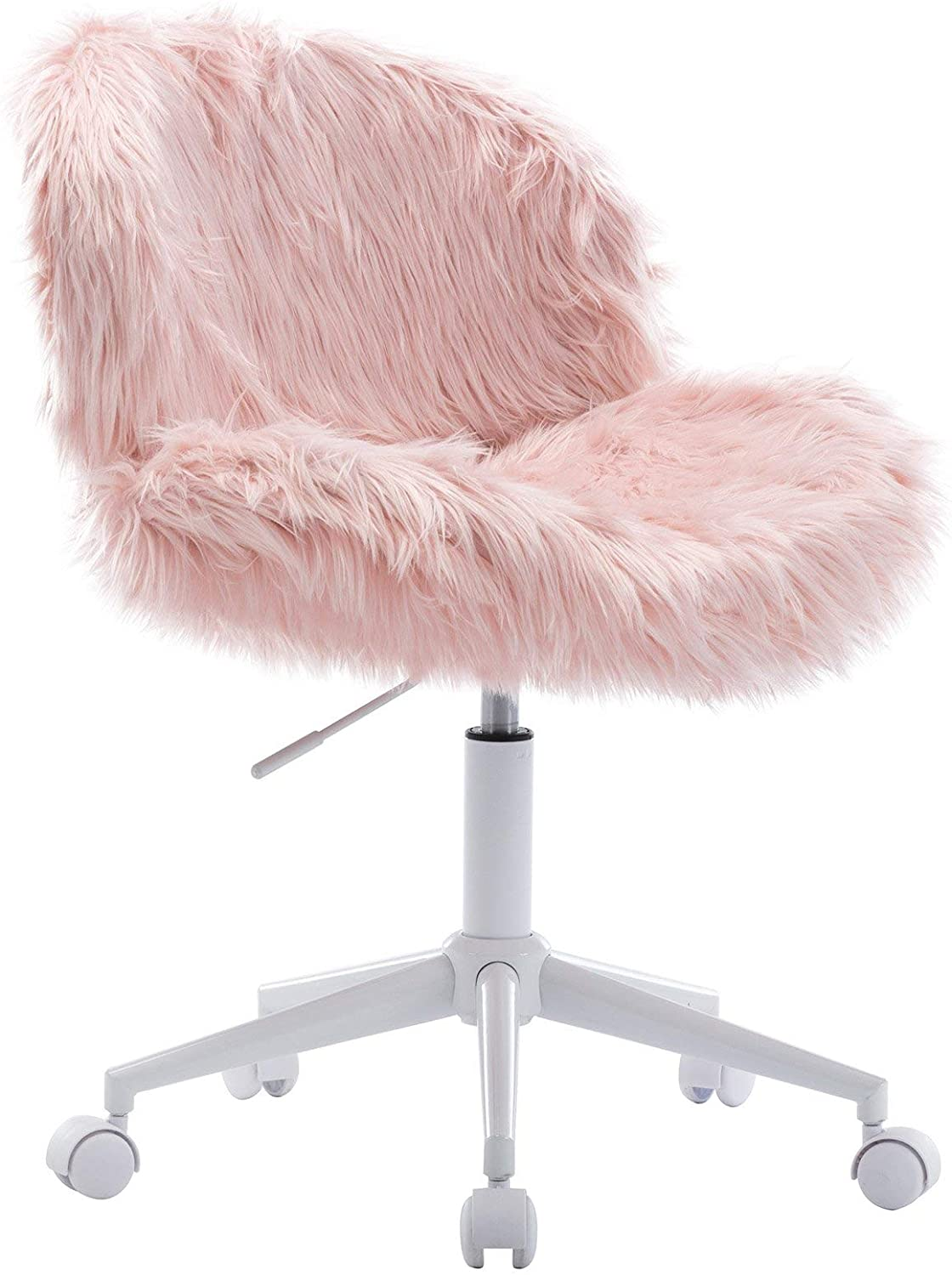 Wahson Cute Faux Fur Task Chair with Wheels, Comfy Sherpa Fuzzy Swivel Desk Chair Armless, for Adults and Kids, Living Room, Bedroom, Vanity, Home Office, Blush Pink