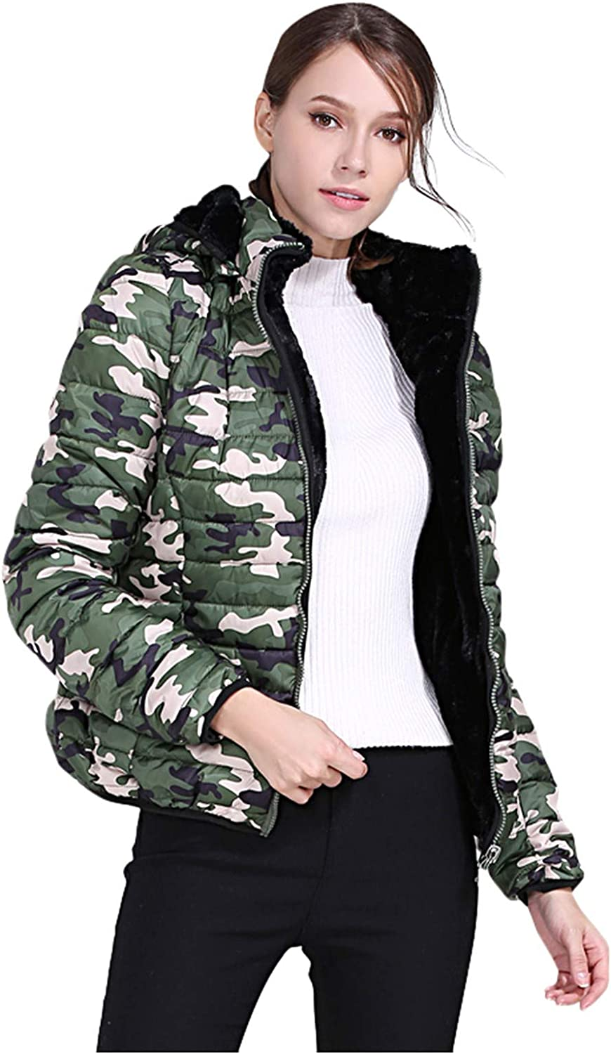 IZHH Ladies Short Jacket Many Max 53% OFF popular brands Camouflage Outwear Warm Cot Coat Casual