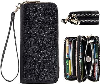 Women RFID Leather Wristlet Wallets Dual Zipper Around Phone Checkbook Card Big Clutch Large Ladies Travel Purse