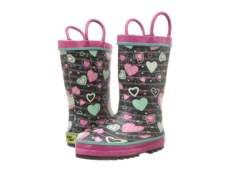 Western Chief Kids Limited Edition Fleece Lined Rain Boots (Toddler/Little Kid) (Neon Hearts) Girls Shoes