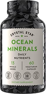Crystal Star Ocean Minerals Supplement (60 Capsules) – Daily Herbal Supplement for Bone Health & Collagen – Sea Buckthorn, Spirulina & Organic Alfalfa - Non-GMO