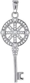 Jawa Jewelers Sterling Silver Womens Round Cubic Zirconia CZ Key With Wagon Wheel Cluster Fashion Charm Pendant