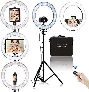 """Socialite Ring Light - 19"""" Dimmable LED Lighting Kit w/Travel Bag for YouTube, Webinar, Social Media Photos - Remote Contr..."""